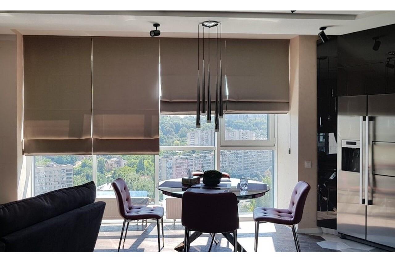 Римські штори для кухні-вітальні ЖК Квартет
